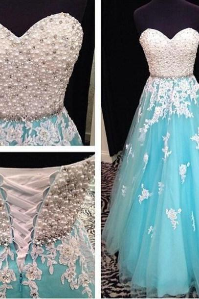 Sweetheart Applique Prom Dress,Strapless Prom Dress,Evening Dress