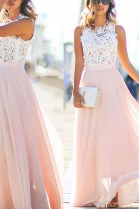 Sleeveless Lace Prom Dresses,A-line Chiffon Prom Dress