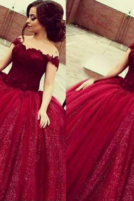 Off Shoulder Prom Dresses,A-line Burgundy Prom Dress