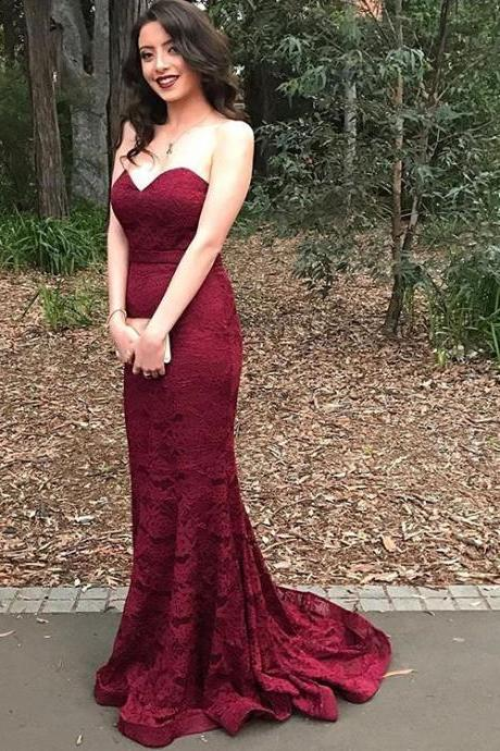 Floor Length Prom Dresses,Burgundy Lace Prom Dress,Evening Dresses