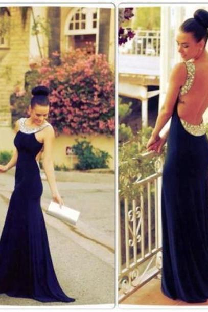 Open Back Floor Length Mermaid Prom Dress,Evening Dresses