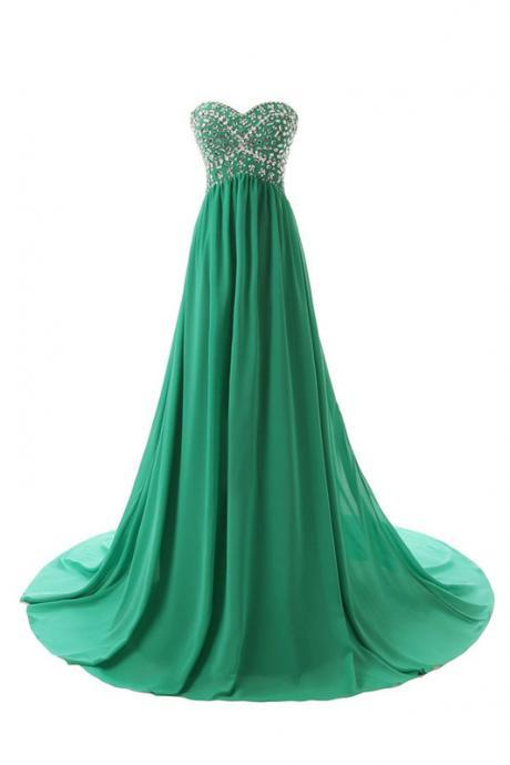 A-Line Sweetheart Chiffon Beaded Prom Dress,Evening Dresses