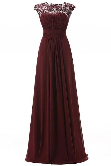 Sleeveless Lace Chiffon A-line Simple Prom Dress,Evening Dresses