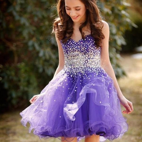 Short Sparkle Beaded Party Dresses, Lavender Purple Tulle Petite Dresses