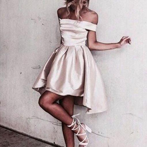 Creamy White Sexy Homecoming Dress, Off Shoulder Homecoming Dress