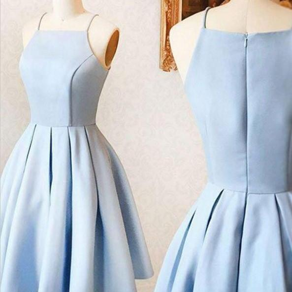 Baby Blue Simple Dress, Strapless Cute Homecoming Dress