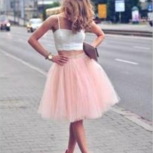 Pink Tulle Homecoming Dress, Two Pieces Short Homecoming Dress