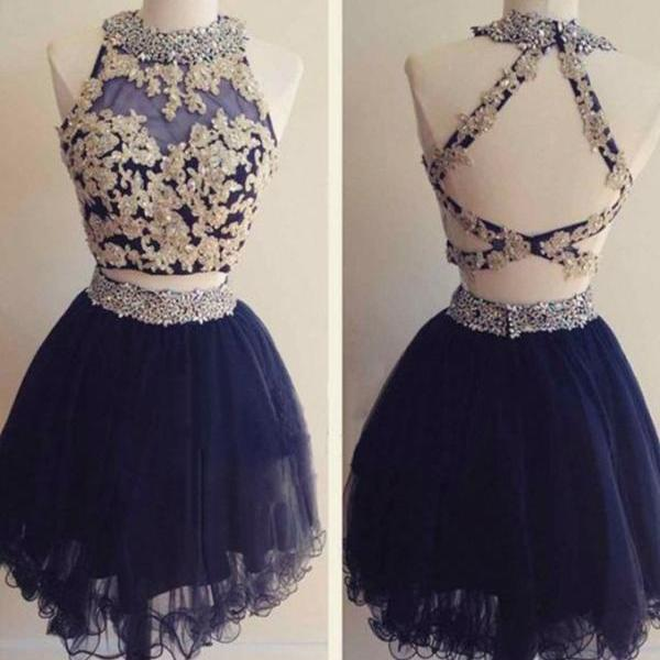 Navy Blue Beading Two Piece Homecoming Dresses