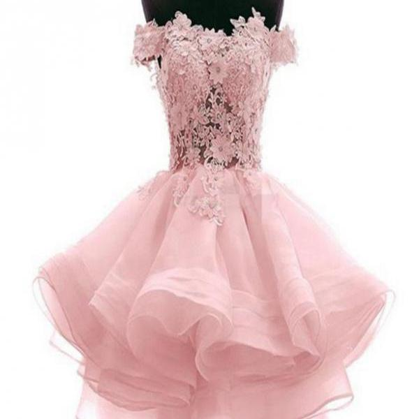 Pink Lace Short Homecoming Dresses, Cute Sheer Prom Dresses