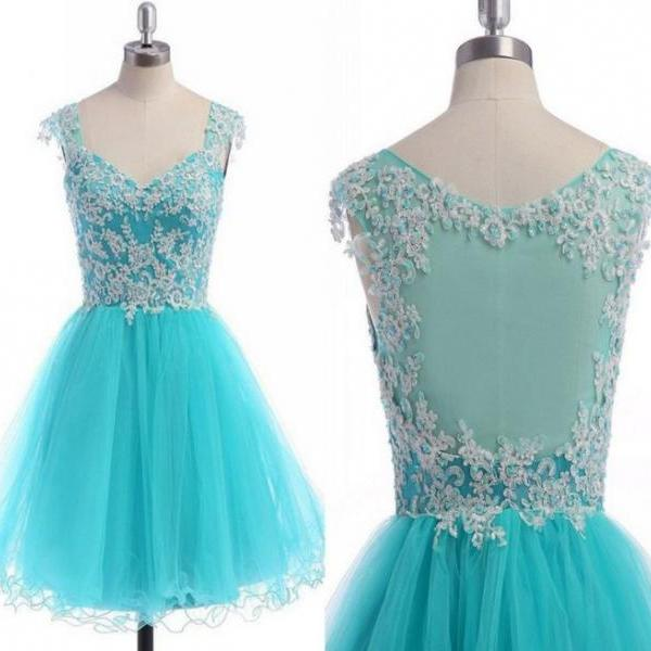 Mint Appliques Beaded Homecoming Dresses ,V-neck Open Back Homecoming Dresses