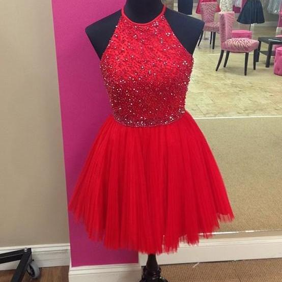 Red Tulle Halter Beadings Homecoming Dress