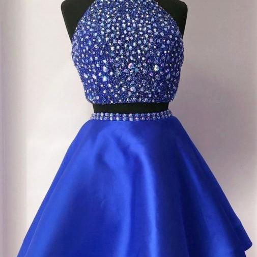 Royal Blue Crystal Homecoming Dress, Halter Two Piece Short Prom Dress