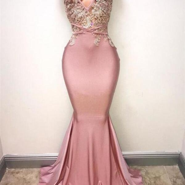 Deep V-Neckline Mermaid Prom Dresses Appliques Pink Pageant Dress