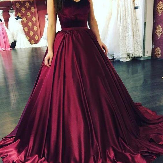 Sweetheart Burgundy Prom Dresses Strapless Pageant Dress