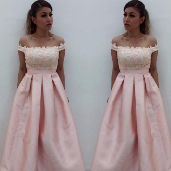 Off Shoulder Elegant Prom Dress Lace A Line Pageant Dresses