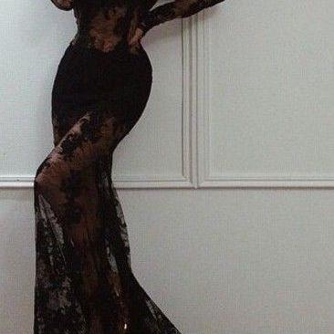 Black Prom Dress Sexy Long Sleeve Lace Prom Dresses
