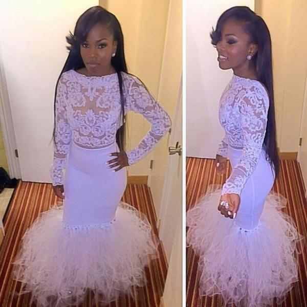 Long Sleeve Prom Dress,Lace White Evening Dresses,Mermaid Floor Length Dress