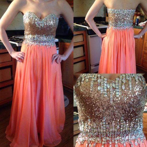 Sequins Prom Dresses,Sparkle Coral Prom Dress,Evening Dress