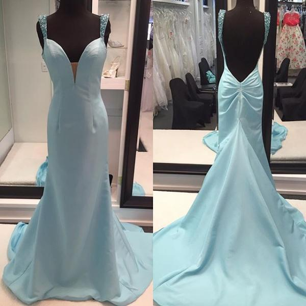 Straps Long Prom Dresses,Backless Prom Dress,Evening Dresses