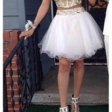 Two Pieces Prom Dresses,Short Homecoming Dress