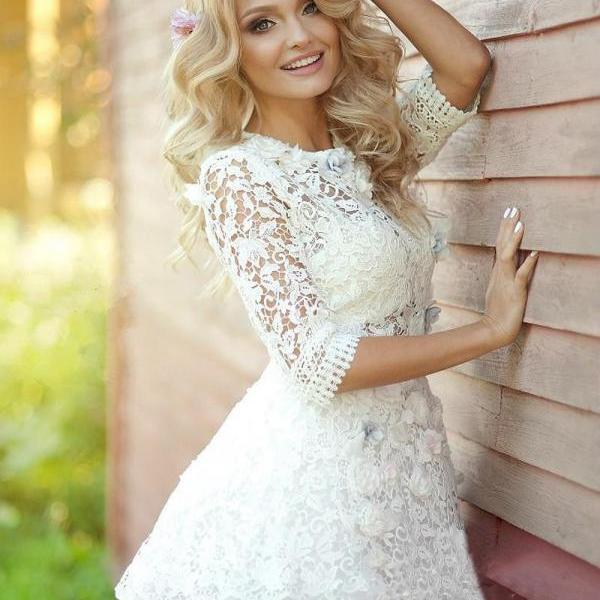 Long Sleeve Homecoming Dress,Applique Tulle Homecoming Dresses