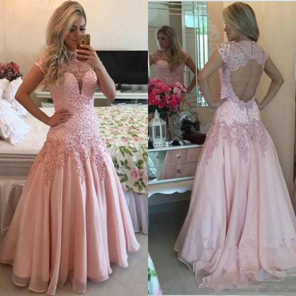 High Neck Prom Dress,Pink Applique Prom Dress,Evening Dress