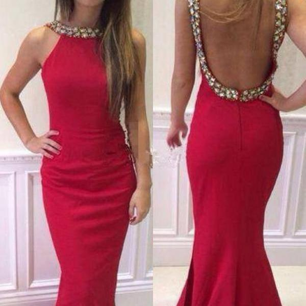 Floor Length Prom Dress,Backless Prom Dress,Evening Dress