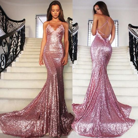 Pink Sparkly Prom Dress,Backless Prom Dress,Evening Dress